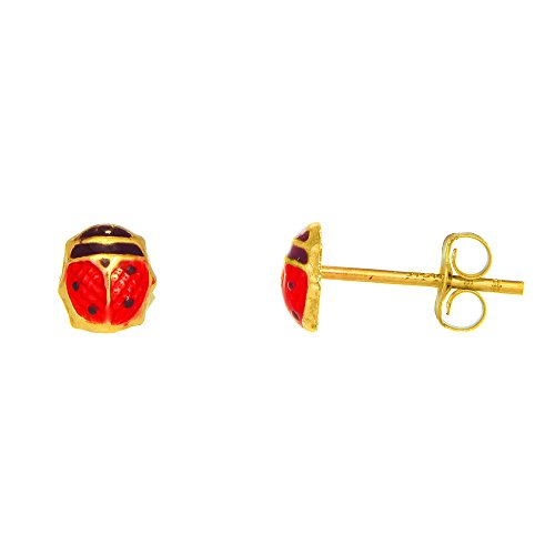 JewelStop 14k Real Yellow Gold Enamel Ladybug Post Stud Earrings Small Children Petite]()