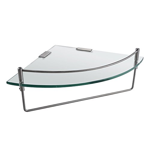 Bathroom Glass Shelf Finish (KES BGS2100A-2 Bathroom Corner 7MM-Thick Tempered Glass Shelf Wall Mount with Towel Bar SUS304 Stainless Steel, Brushed Finish)