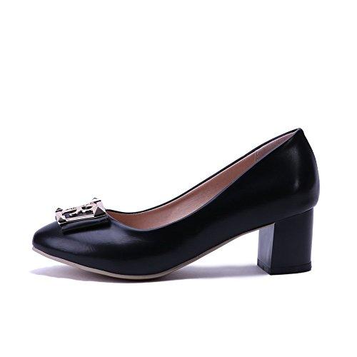 AgooLar Damen Spitz Zehe Ziehen auf PU Eingelegt Mittler Absatz Pumps Schuhe, Golden, 33