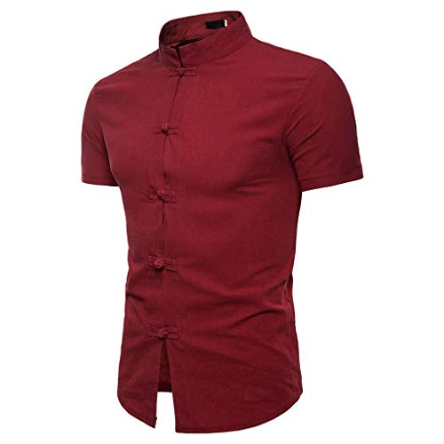 Rakkiss_Men Shirt Solid Chinese Stand Collar Tee Short Sleeve Pathwork Blouse Casual Summer Clothes Wine (Best Chinese Clothing Sites)