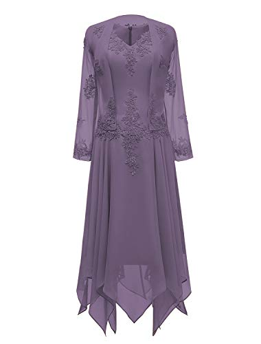 tutu.vivi V-Neck Chiffon Tea Length Mother of The Bride Dress Long Sleeves Lace Formal Evening Gowns with Jacket Purplish Grey Size18W