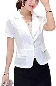 KLJR Women Slim Fit Summer Short Sleeve Solid Color Work OL Blazer Jacket Suit Coat