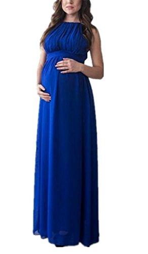 Da Blu Senza Abito Gravidanza Pregnancy Elegante Vestito Chiffon Maniche Kerlana Estive Abito Abito Partito Belle Donna Dress Incinta Allentata Vestito Comoda Spiaggia Pieghe Da Dress pTqqS