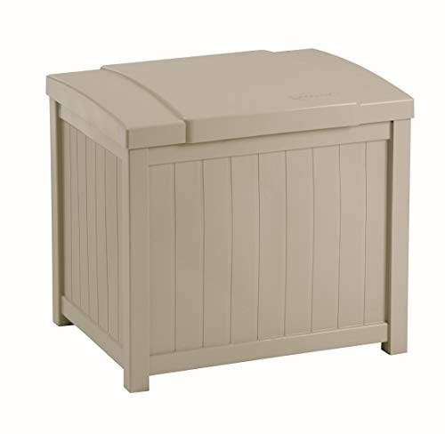 Suncast Resin Patio Storage Box - Outdoor Bin Stores Tools, Accessories and Toys - Taupe (Large Plastic Storage Garden)