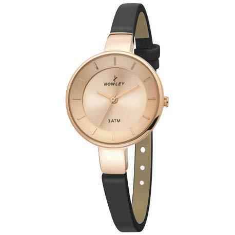 reloj mujer, marca Nowley, esfera y caja en acero rosa, con correa de piel negra, 3 ATM: Amazon.es: Relojes