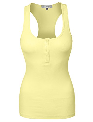 LE3NO Womens Lightweight Ribbed Henley product image