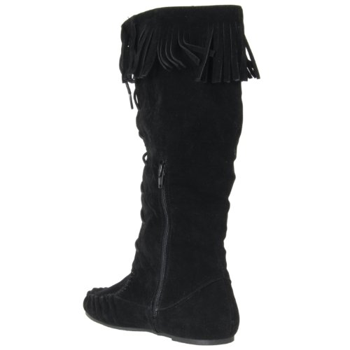 Bamboo Friends Lace Fringe Microsuede up Womens Black Boots 77qxrUfwTc