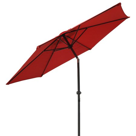 Cheap 88×1½ Inch Aluminum Pole w/ Tilt Crank Handle & 8 Ft Diam. Polyester Red Umbrella 6-rib Structure UV Protection Sun Shade for Patio Outdoor Furniture Canopy