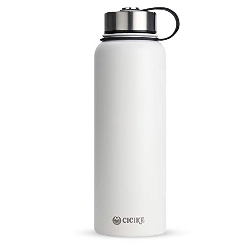 cicike Vacuum Insulated 18/8 Stainless Steel Water Bottle, 40oz/1200ml Wide Mouth Double Walled Camping Thermal Flask, Leak Proof and BPA Free Lid, Keeps Water Stay Cold 24 Hours and Hot 12 (White)