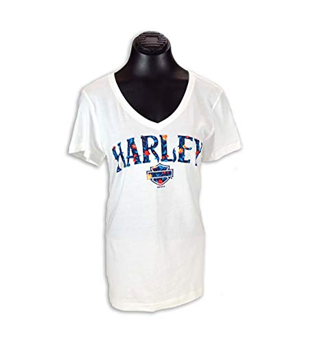 (Harley-Davidson Ladies HD Thrive V-Neck T with Woodstock Dealer Imprint (XLarge) White)