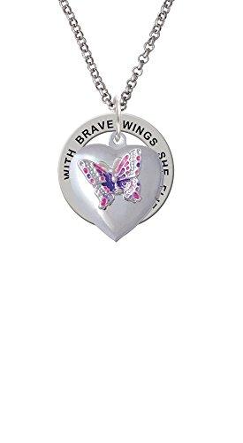 Pink & Purple Butterfly Locket - Brave Wings Affirmation Ring Necklace (Beauty Butterfly Locket)