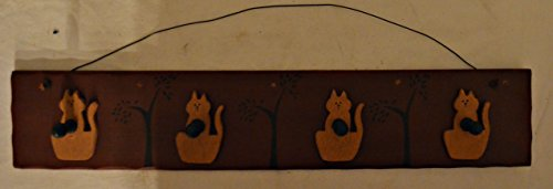 Solid Wood Hanging Rack with Four Decorative Hanging Hooks with Cat Cutouts in Back. Can Be Used for Keys, Scarves, Jewelry, Etc. Measures 18 X 2 X 3 1/2 with a Metal Wire for Hanging
