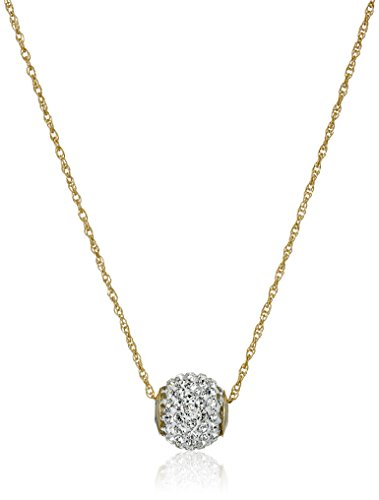 10K Yellow Gold Swarovski Elements Slide Ball Pendant Necklace, (Gold Ball Pendant)