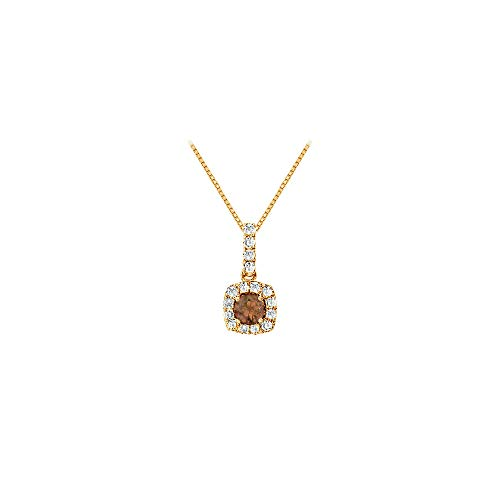 - Fancy Square Smoky Quartz and Cubic Zirconia Halo Pendant in 14K Yellow Gold