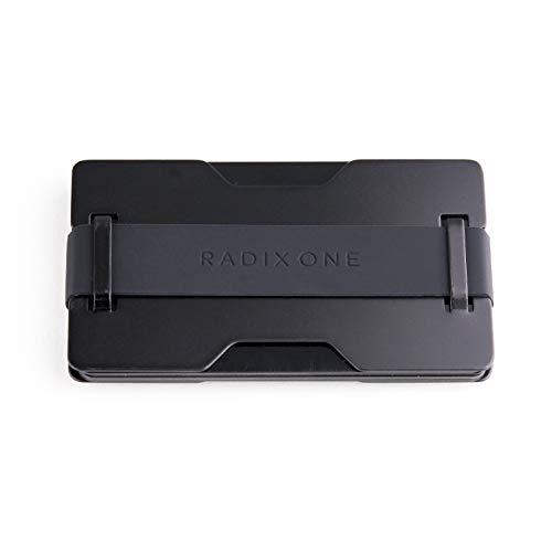 Radix One Black Steel - RFID Blocking Minimalist Front Pocket Ultra Thin Strong Wallet Money Clip Card Holder (Steel Wallet)