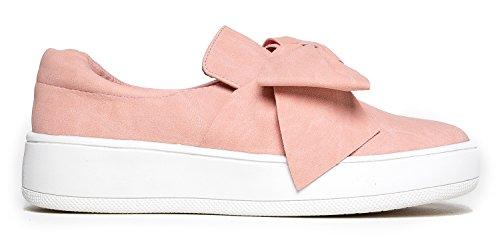 J. Adams Bow Platform - Trendy Flatform Schuhe - Komfortable Closed Toe Sneakers - Wally Bow Pink Nbpu