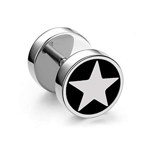 SL SweetLove American Captain's Shield Pattern Stud Earrings, 8mm Stainless Steel Piercing Earring Set ()