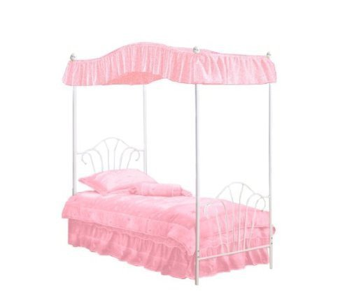 Amazon.com New Twin White Metal Canopy Bed Set with Light Pink Eyelet Canopy Fabric Drape! Kitchen u0026 Dining  sc 1 st  Amazon.com & Amazon.com: New Twin White Metal Canopy Bed Set with Light Pink ...