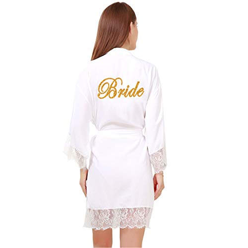 GoldOath Womens Pure Color Cotton Short Kimono Robes with Gold Glitter for Bridesmaid and Bride