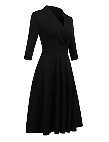 A Line Half Sleeve ELESOL Black Flared Dress V Swing Women's Vintage Neck Pleated zAqH8A