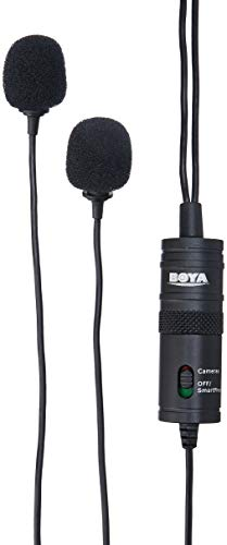 BOYA BY-M1DM Dual Lavalier Universal Microphone with a Single 1/8 Stereo Connector for Smartphones DSLR Camears Camcorders