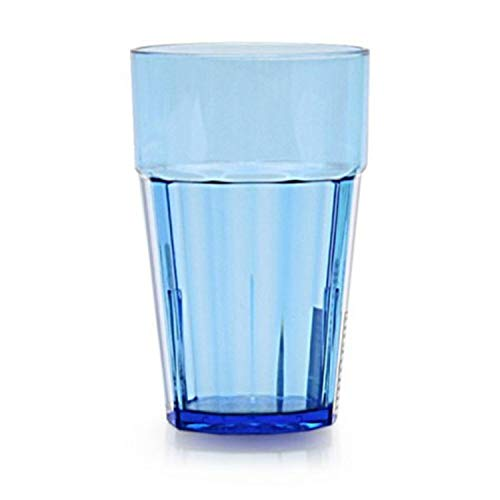(Tiger Chef Premium Quality, 12-ounce, Blue Glass Like Unbreakable Plastic Tumbler Set, Diamond Stackable Tumblers Dishwasher Safe (24 Pack))