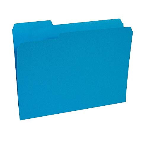 (Staples 224527 Colored File Folders 3-Tab Letter Blue 100/Box)