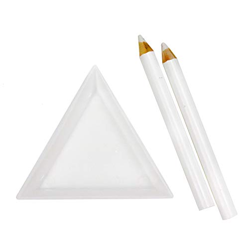 (JETEHO 30 pcs White Triangle Bead Sorting Trays and 10 Rhinestone Dotting Pens)
