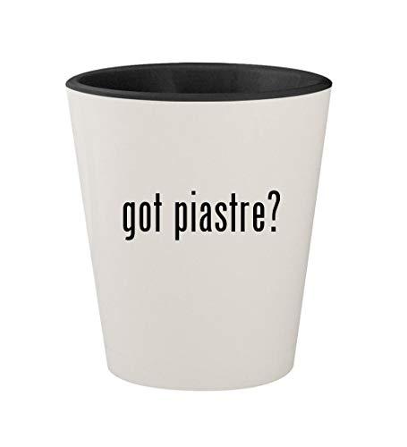 - got piastre? - Ceramic White Outer & Black Inner 1.5oz Shot Glass