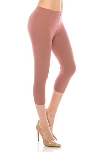 ALWAYS Women Basic Capri Leggings - Solid Buttery Premium Soft Stretch Yoga Workout Fitness Pants Old Rose Plus ()