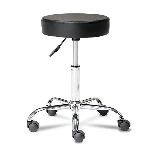 Artechworks Adjustable Rolling Swivel Stool for Salon Spa Massage Tattoo Facial Medical Chairs With Wheels and Metal Plate Frame(Black) 1 Pcs
