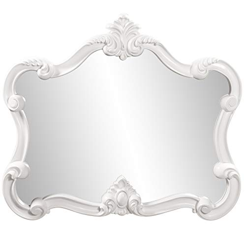 Howard Elliott Veruca Rectangular Ornate Wall Mirror, Vanity, Glossy White Lacquer, 28 x 32 Inch