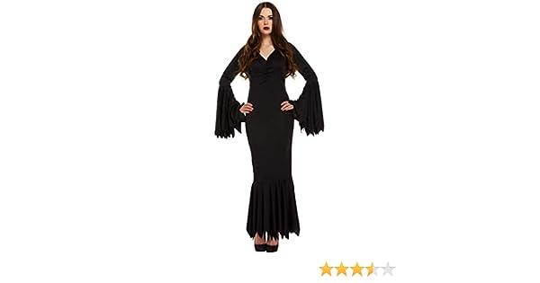 Mujer Sexy Negro Largo Vampiro Morticia Familia Addams Disfraz De ...