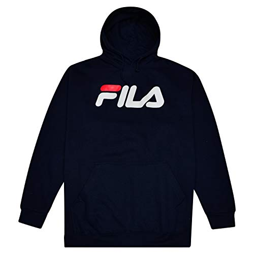 Fila Sweatshirt for Men Big and Tall Pullover Hoodie with Logo Navy ()