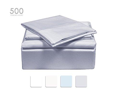 TRANQUIL NIGHTS 500 Thread Count 100% Premium Cotton Sheet Set- Light Grey Full, 4-Piece set, Long Staple Combed Cotton, Sateen Weave, Classic Z Hem, Cool&Crisp, Fits Mattress Upto 17