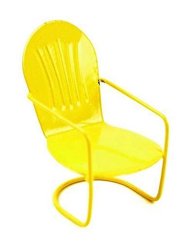 GARDENSHOW Miniature Fairy Garden Yellow Metal Glider Chair -