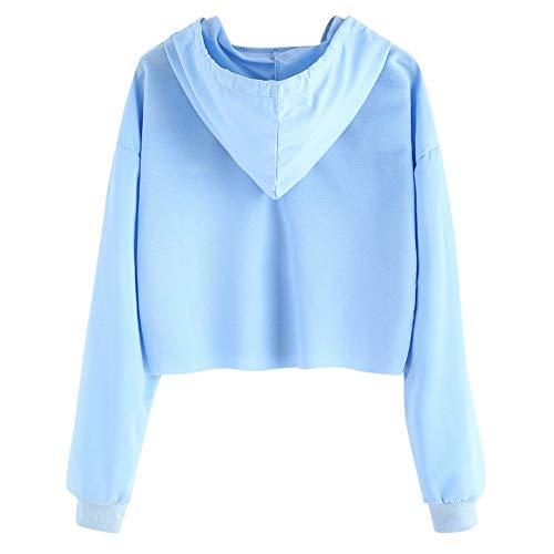 Adolescentes Cortas Sudaderas Blusa Fossen Capucha Chicas Otoño Ropa De con Azul Mujer Sudaderas Invierno e Larga Manga Camiseta Blackdope Rptwg