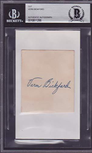 Vern Bickford (d.1960) Signed Cut Autograph Baseball 1948 Braves No Hitter BAS Beckett Authentication