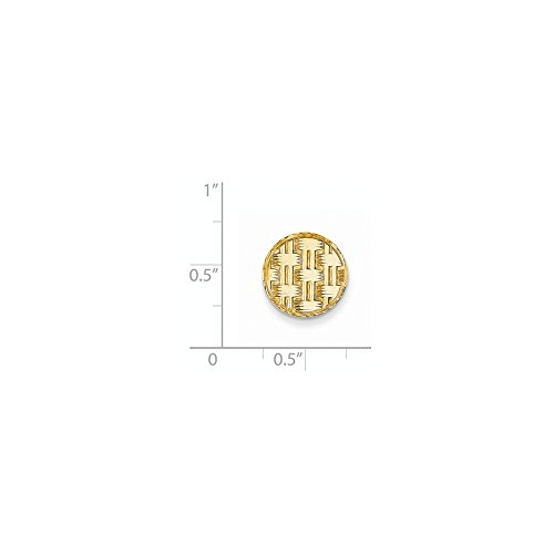 14K Yellow Gold Circular Tie Tac with Basketweave Design by CoutureJewelers (Image #1)