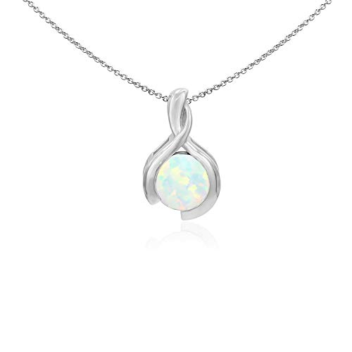 Sea of Ice Sterling Silver 8mm Round Synthetic Opal Pendant Necklace for Woman, 18 Inch