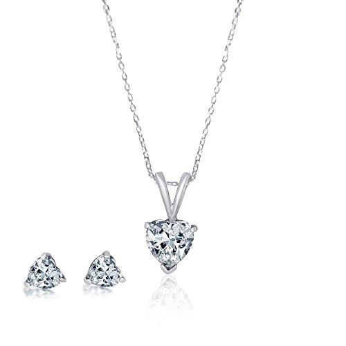 925 Sterling Silver Heart Shaped CZ Earrings & Bracelet Jewelry Set 18 Inch Necklace Cubic Zirconia
