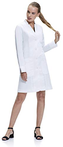 Dr. James Women's Tailored Fit Chic Lab Coat with Fold Back Cuff (37 inch Length) US 8 White