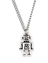 """19.7"""" Stainless Steel Curb Chain Necklace with Robot 2MN 59M"""
