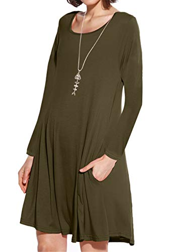 JollieLovin Women's Pockets Long Sleeve Casual Swing Loose Dress (Army Green, M)