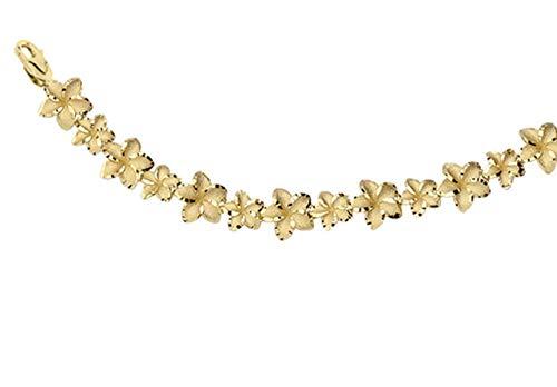 Exotic 14k Yellow Gold Hawaiian Plumeria Flower Bracelet, 7