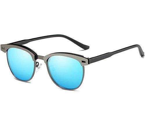Joopin Semi Rimless Polarized Sunglasses Women Men Retro Brand Sun Glasses (Metal Frame Blue Lens, as the - Rimless Semi Sunglasses