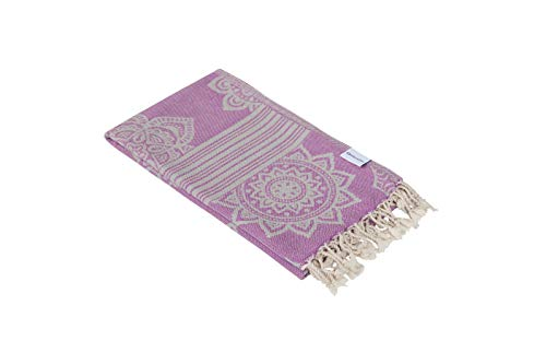 - InfuseZen 100% Cotton Peshtemal, Reversible Turkish Towel for The Bath, Beach or Pool, Thin Fouta Towel for Travel, Gym, Yoga, Spa, 68 inches x 37 inches (Light Purple)