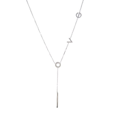 (LUREME Women's Stainless Steel Love Y Shaped Necklace Circle Lariat Necklace-Silver)