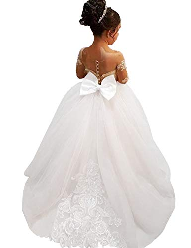 MuchXi Lovely Lace Flower Girls Dresses Kids First Communion Dress Princess Wedding Pageant Ball Gown White -