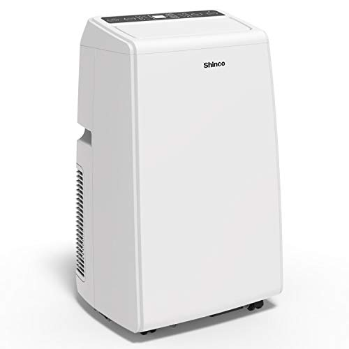 Shinco SPS5-14H 14000 BTU Portable Air Conditioner Unit + 11000 BTU Heater, Cool Fan Quiet Dehumidifier Rooms Up to 500 Sq.Ft. LED Display, Remote Control, White ()